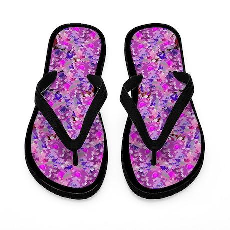 Purple Floral Pattern Flip Flops