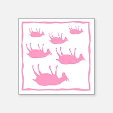 "fainting goat_sq_Pink Square Sticker 3"" x 3"""