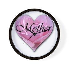 Mother Pink Rose Heart Wall Clock
