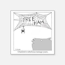 "Free Ham Square Sticker 3"" x 3"""