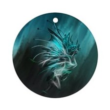 Fractal Water Round Ornament