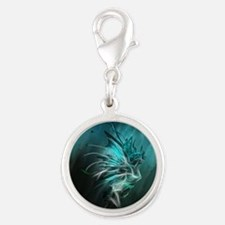Fractal Water Silver Round Charm