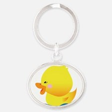 Boy Ducky with Blue Water Oval Keychain