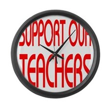 Support our teachers bimini red Large Wall Clock