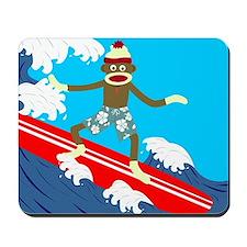 Sock Monkey Longboard Surfer Mousepad