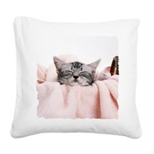 kitty basket shirt Square Canvas Pillow