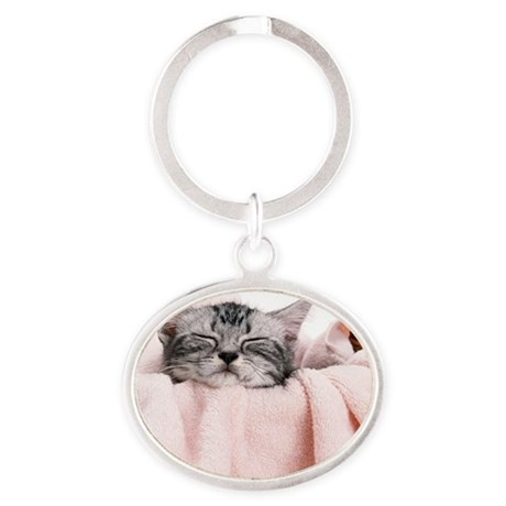kitty basket tile Oval Keychain