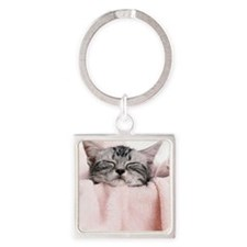 kitty basket slider Square Keychain