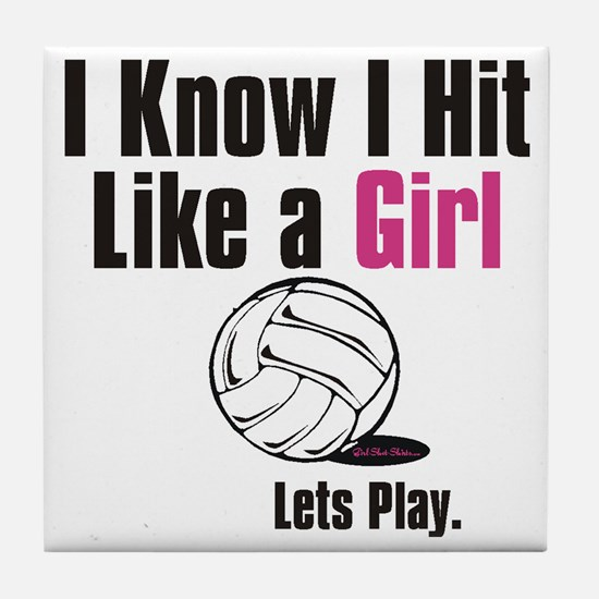 hit like a girl vball Tile Coaster