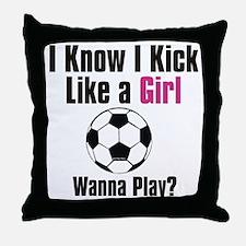 kick like girl Throw Pillow