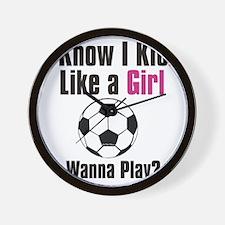 kick like girl Wall Clock