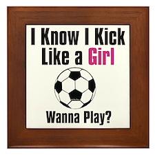 kick like girl Framed Tile