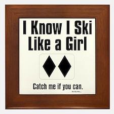ski like a girl Framed Tile