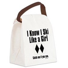 ski like a girl Canvas Lunch Bag