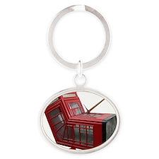 Banksy Phone Box Oval Keychain