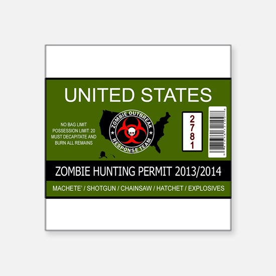 zombie permit rectangle Sticker