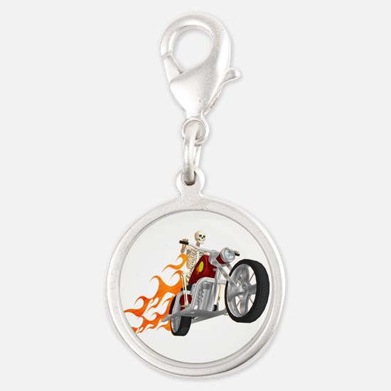 Skeleton Biker with Flames Charms