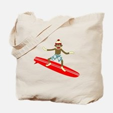 Sock Monkey Longboard Surfer Tote Bag