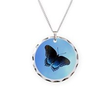 Red Spotted Purple Butterfly Necklace Circle Charm