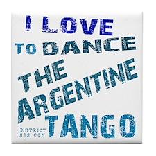 argentine_tango_love_to_dance_blue Tile Coaster
