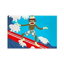 Sock Monkey Longboard Surfer Magnet
