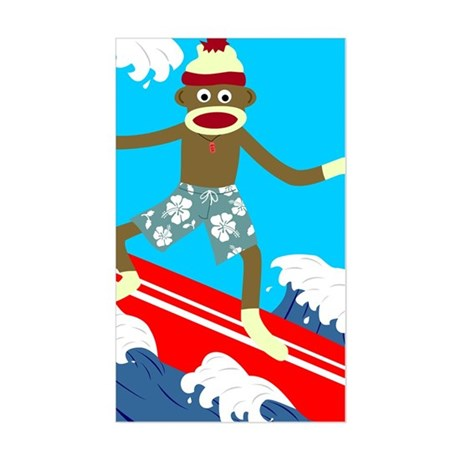 Sock Monkey Longboard Surfer Sticker