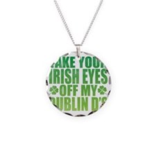 Irish Eyes Green Necklace Circle Charm