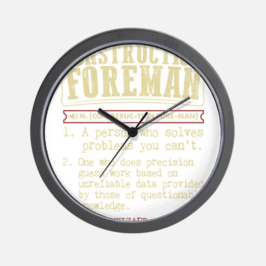 Construction Foreman Dictionary Term T- Wall Clock