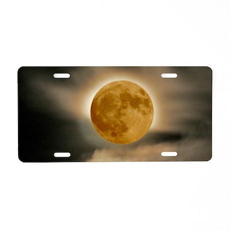 small framed moon Aluminum License Plate