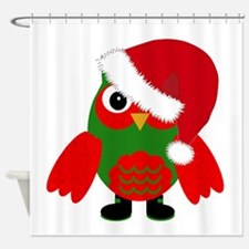 Santa Owl Shower Curtain