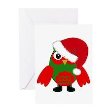 Santa Owl Greeting Cards