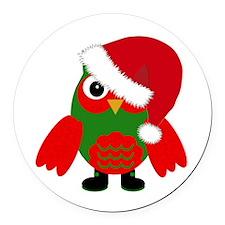 Santa Owl Round Car Magnet