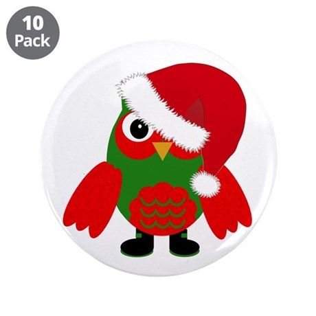 Santa Owl 3.5&Quot; Button (10 Pack)