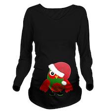 Santa Owl Long Sleeve Maternity T-Shirt