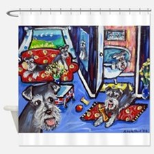 Schnauzer Busy House Shower Curtain