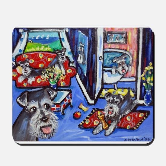 Schnauzer Busy House Mousepad