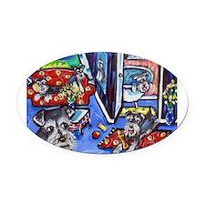 Schnauzer Busy House Oval Car Magnet