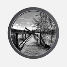 autumn pier black and white HDR Wall Clock