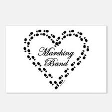 Black Marching Band Heart Postcards (Package of 8)