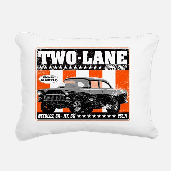 Two-Lane-Distress Rectangular Canvas Pillow