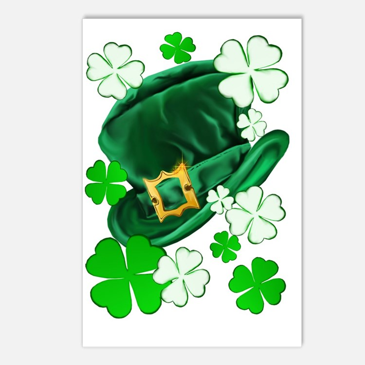 Irish Hat and ShamrocksTr Postcards (Package of 8)