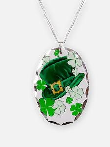Irish Hat and ShamrocksTrans Necklace