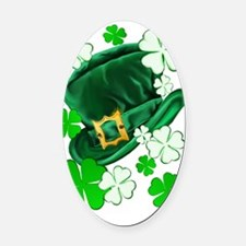 Irish Hat and ShamrocksTrans Oval Car Magnet