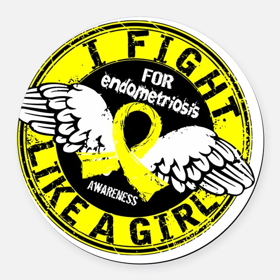 Fight Like A Girl Endometriosis 1 Round Car Magnet
