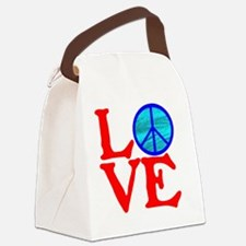 LOVE with PEACE SYMBOL II Canvas Lunch Bag