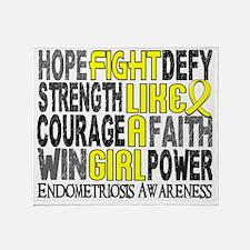 D Fight Like A Girl Endometriosis 23 Throw Blanket