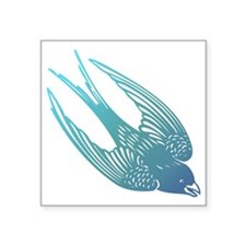 "Blue Swallow Square Sticker 3"" x 3"""