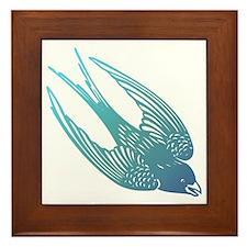 Blue Swallow Framed Tile
