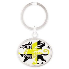 St Davids Dragon cutout front shirt Oval Keychain