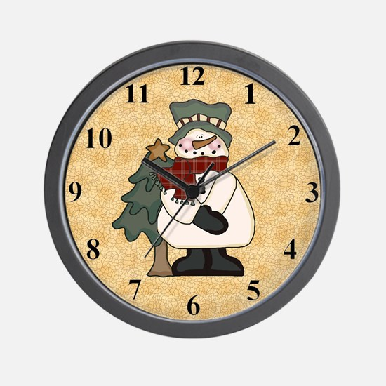 snowmanandtreeclock Wall Clock